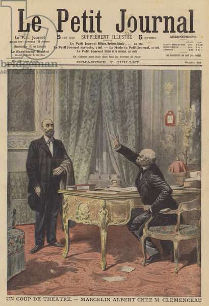 Marcelin Albert meeting French Prime Minister Georges Clemenceau (colour litho)