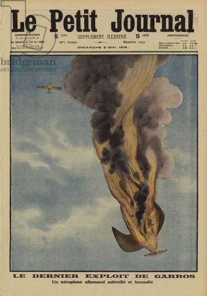 German aircraft shot down in flames by French fighter pilot Roland Garros, World War I, 1915 (colour litho)