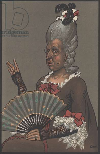 Mrs Malaprop, The Rivals by Richard Brinsley Sheridan (colour litho)