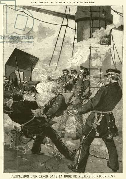 Accident on board the French warship Bouvines (engraving)