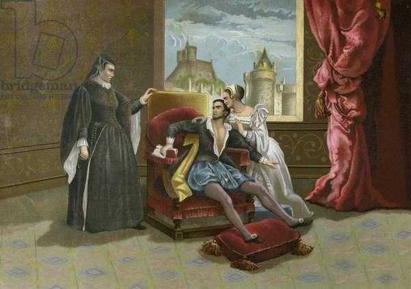 Death of King Charles IX of France, 1574 (chromolitho)