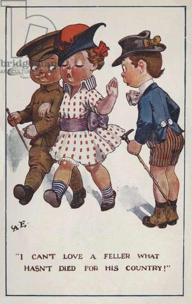 Little girl choosing her boyfriend (colour litho)