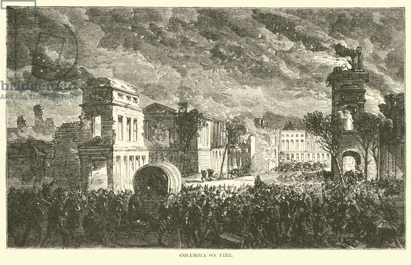 Columbia on fire, February 1865 (engraving)