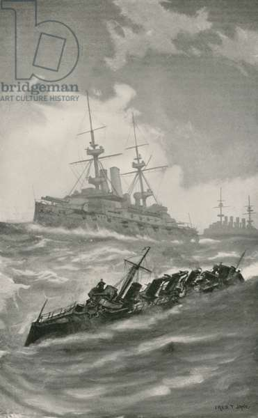 H. M. S. Mars, Terrible, and Dragon Cruising in the English Channel (litho)