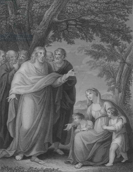 Christ and Zebedee's Children, St Matthew 20, Verse 20-29 (engraving)