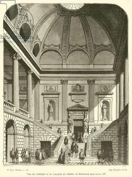 Vue du vestibule et de l'escalier du theatre de Bordeaux sous Louis XV (engraving)