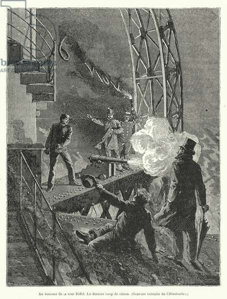 Au sommet de la tour Eiffel, La dernier coup de canon, 19th century (engraving)
