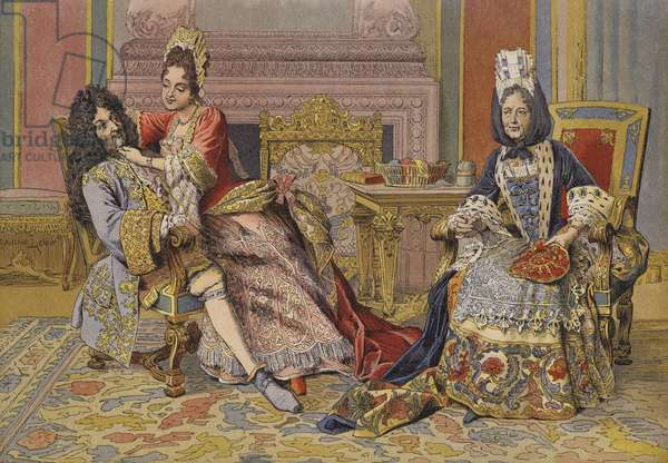 Familiarity of the Duchess of Burgundy with King Louis XIV (colour litho)