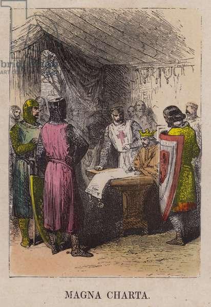 King John signing Magna Carta (coloured engraving)