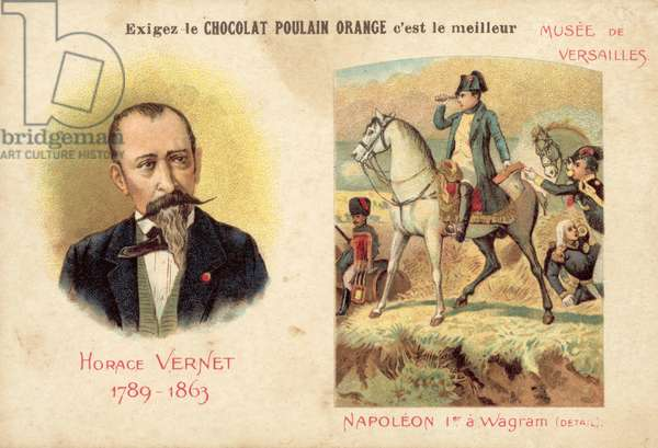 Horace Vernet, French artist, and a detail from his painting Napoleon I at Wagram (chromolitho)
