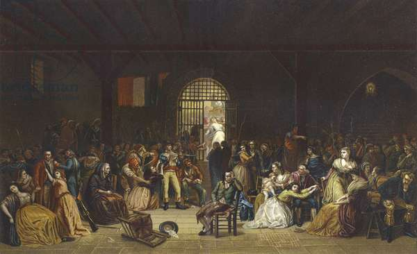 Call for the last victims of the Terror at the St Lazare Prison, French Revolution, 1794 (colour litho)