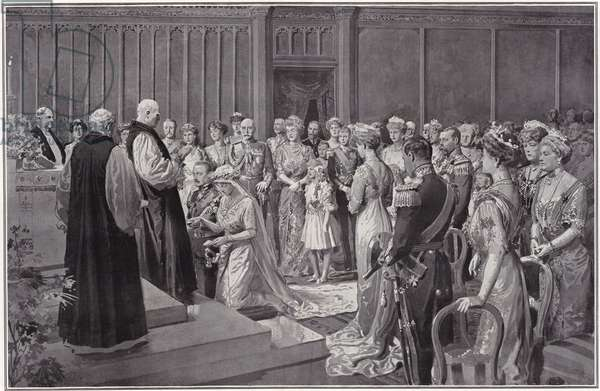 The royal marriage between Prince Arthur of Connaught and the Duchess of Fife - the scene in the Royal Chapel, St James's, October 15, 1913. Published in a supplement to The Sphere, 18 October 1913. (litho)