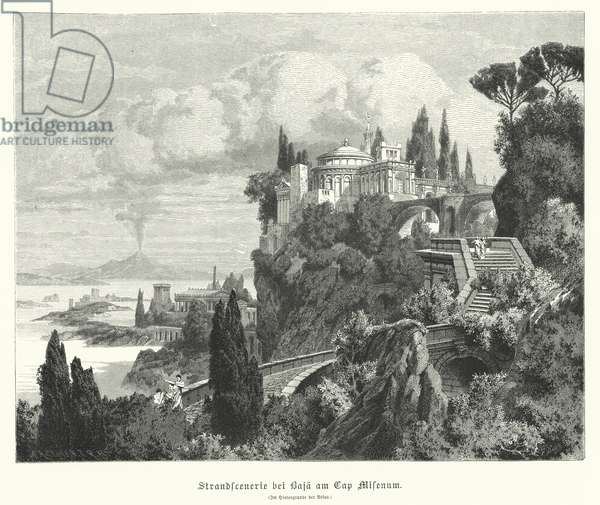 Coastline of the Bay of Naples from the ancient Roman town of Baiae, Cape Miseno, with Vesuvius in the distance (engraving)