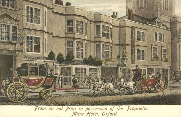 The Mitre Hotel, Oxford (colour litho)