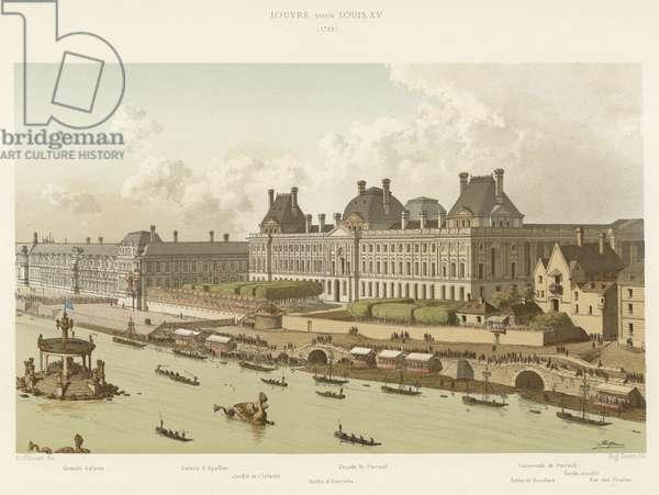 Louvre sous Louis XV, 1739 (colour litho)