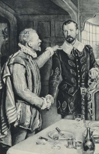 Sir Francis Drake sends out his friend to die - the farewell to Sir Thomas Doughty (litho)