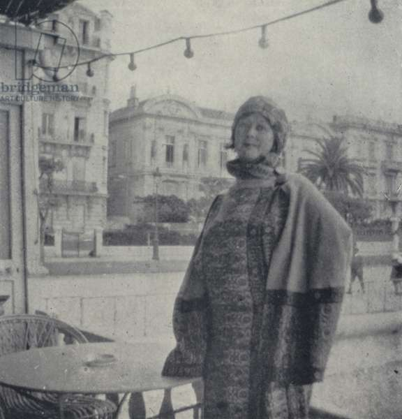 Snapshot of Isadora Duncan taken on the Promenade Des Anglais, Nice, by Allan Ross Macdougall, January 1926 (b/w photo)
