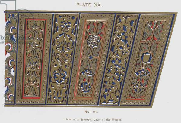 Lintel of a doorway, Court of the Mosque (colour litho)
