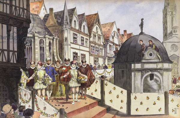 The marriage of Henry III of Navarre and Marguerite of Valois, Paris, 18 August 1572 (colour litho)