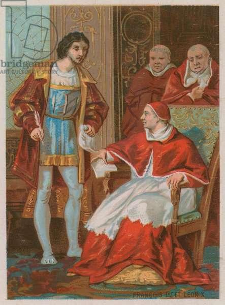 The Treaty of King Francis I and Pope Leo X (chromolitho)