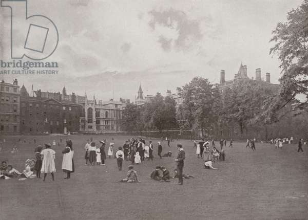 Children at Play in the Temple Gardens (b/w photo)