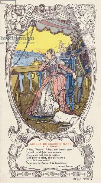 Mary, Queen of Scots, saying farewell to France and returning to Scotland after the death of her husband, King Francis II of France, 1561 (colour litho)