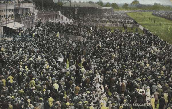 Crowds at Doncaster Racecourse, Yorkshire, on St Leger day (colour photo)