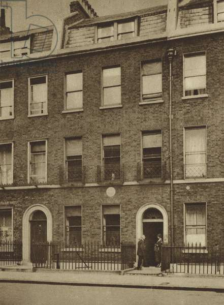 48 Doughty Street, Bloomsbury, where Charles Dickens lived and wrote Oliver Twist and Nicholas Nickleby (b/w photo)