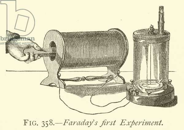 Faraday's first Experiment (engraving)