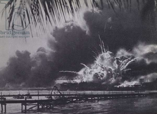 The Japanese attack on Pearl Harbour, 7 December 1941 (b/w photo)