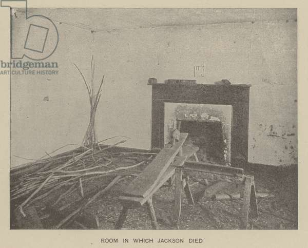 """Room in which Confederate General Thomas """"Stonewall"""" Jackson died (litho)"""