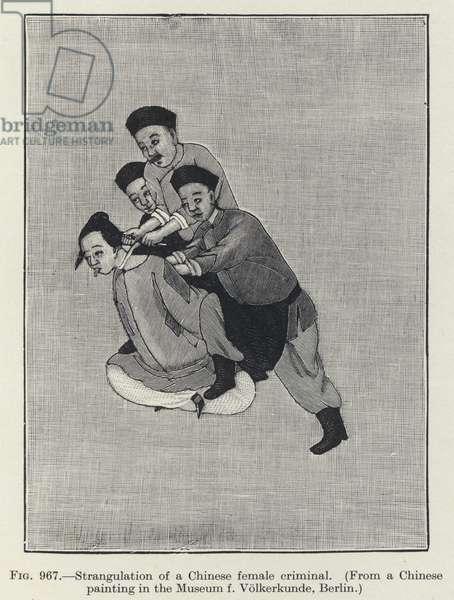 Strangulation of a Chinese female criminal (litho)