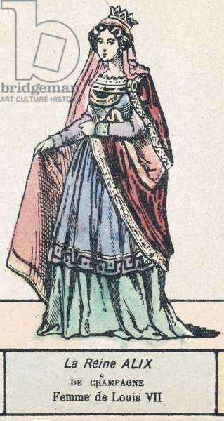 La Reine Alix de Champagne, Femme de Louis VII (coloured engraving)