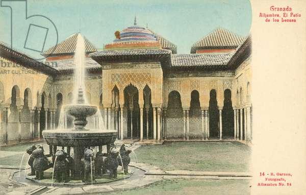 Granada, Spain, Alhambra, El Patio De Los Leones (colour photo)