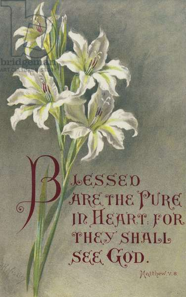Blessed are the Pure in Heart, for they shall see God, Matthew V 8 (colour litho)