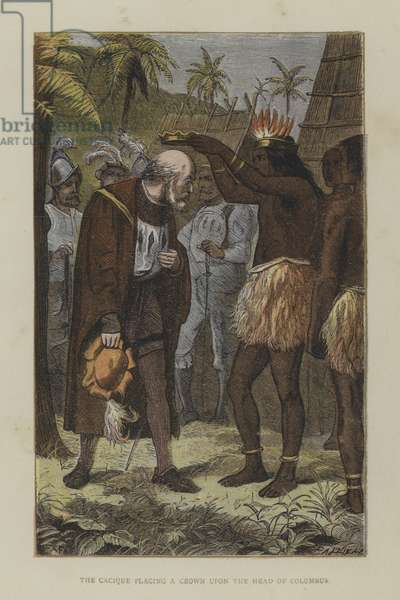 The Cacique placing a crown on the head of Columbus (coloured engraving)