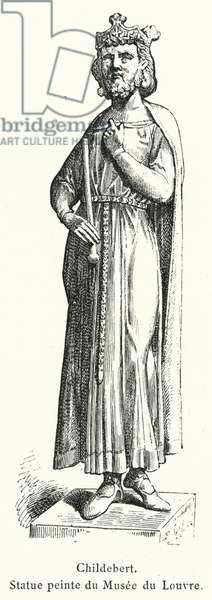 Childebert, Statue peinte du Musee du Louvre (engraving)