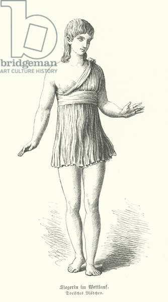 Doric girl of Ancient Greece, the winner of a running race (engraving)
