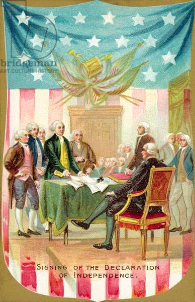Signing of the Declaration of Independence (colour litho)