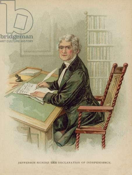 Jefferson signing the Declaration of Independence (chromolitho)