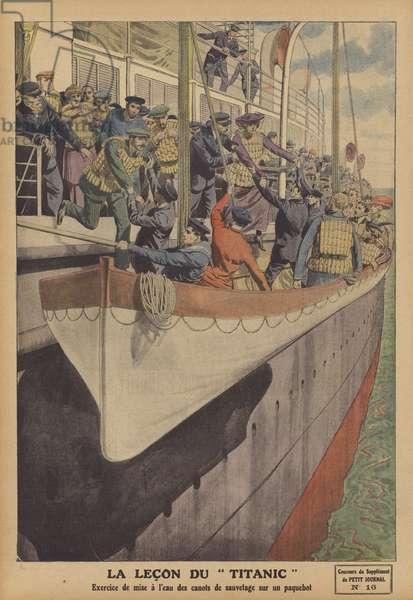The lesson of the Titanic (colour litho)