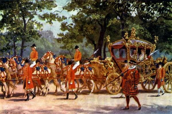 The Coronation Coach (colour litho)