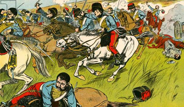 The charge of the Light Brigade (colour litho)