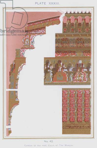 Cornice to the roof, Court of The Mosque (colour litho)