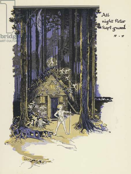 Peter Pan and Wendy: All night Peter kept guard (colour litho)