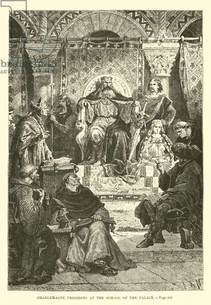 Charlemagne presiding at the School of the Palace (engraving)