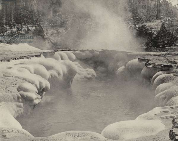 The Oblong Geyser, Yellowstone National Park (b/w photo)