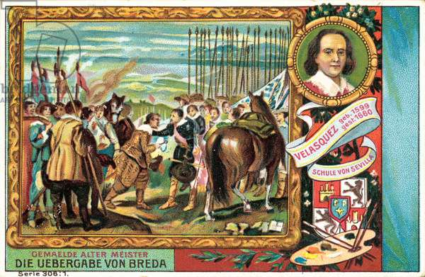 Diego Velasquez, Spanish artist, and his painting The Surrender of Breda (chromolitho)