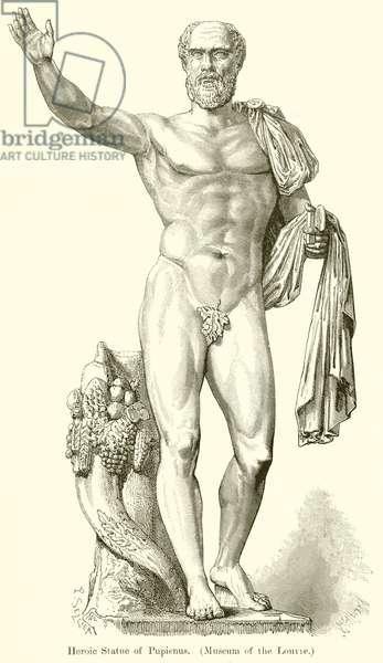 Heroic Statue of Pupienus. (Museum of the Louvre) (engraving)