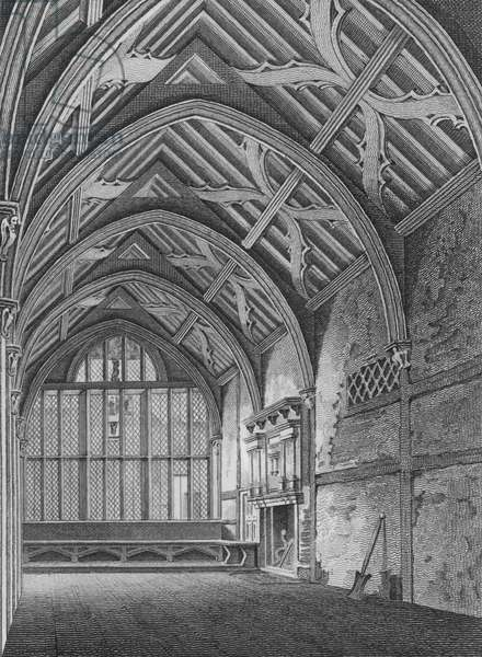 Hall of the Brotherhood of the Holy Trinity, in St Botolph's Parish, Aldersgate, as remaining in February 1790, London (engraving)